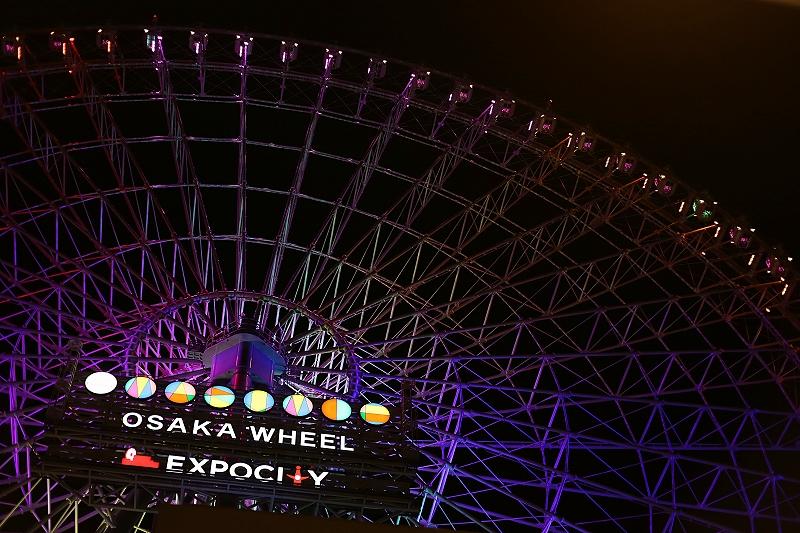 ライトアップされた夜の大阪エキスポシティ観覧車の写真