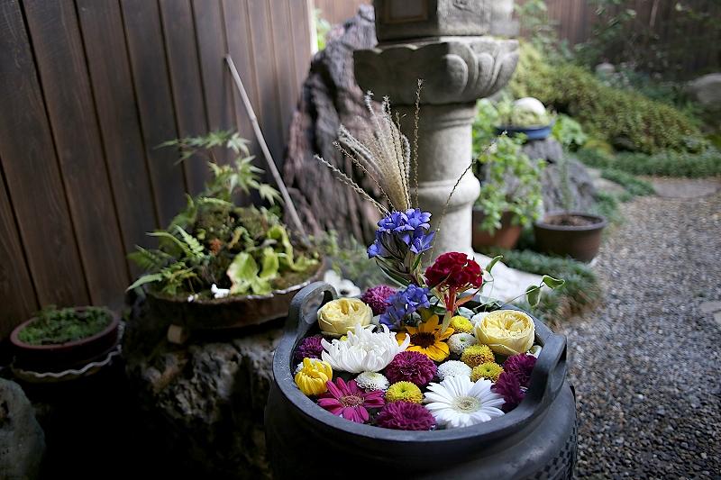 丸みを帯びた黒い鉢のなかに、赤や黃、青色など、色とりどりの花が浮かべられている様子